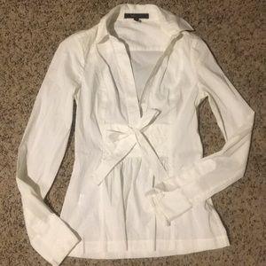 BCBG front tie white blouse